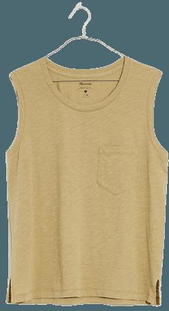 Whisper Cotton Crewneck Pocket Muscle Tank