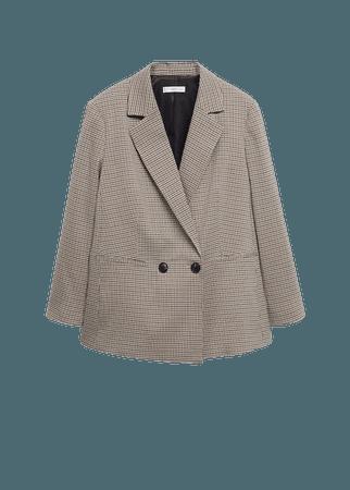Wrap check blazer - Women   Mango USA