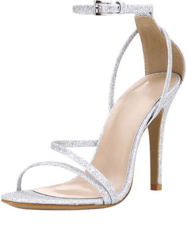 Silver Prom Heels Glitter Strappy Sandals Wedding Shoes - Milanoo.com