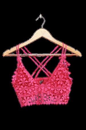 Free People Miss Dazie Pink - Crochet Lace Bralette - Lace Bra