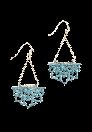 Lotus Garden Dangle Earrings in Turquoise/Gold | ModCloth