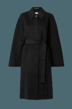 Belted Wool-felt Coat - Black