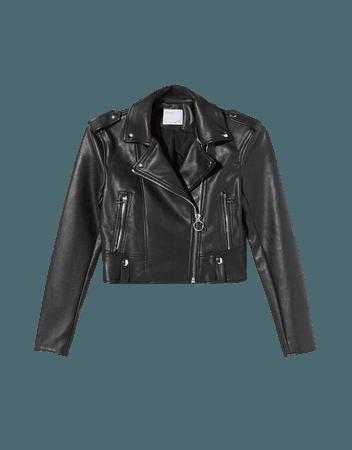 Faux leather biker jacket - Outerwear - Woman   Bershka