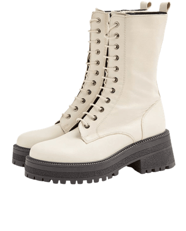 AMY Ecru Chunky Calf Lace Up Leather Boots | Topshop