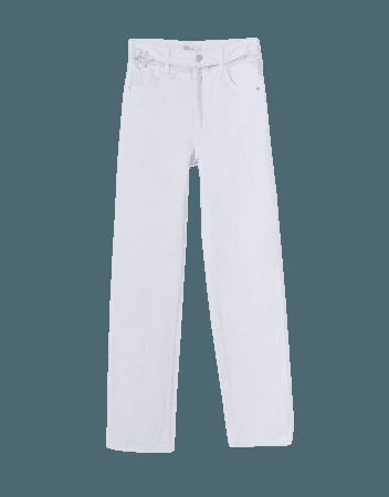 Straight high-rise cut-out jeans - Pants - Woman | Bershka