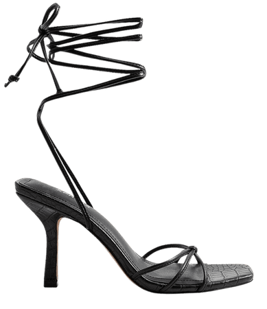 Strappy Lace-Up Heeled Sandals