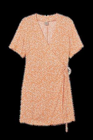 H&M+ Wrap Dress - Light orange/floral - Ladies | H&M US