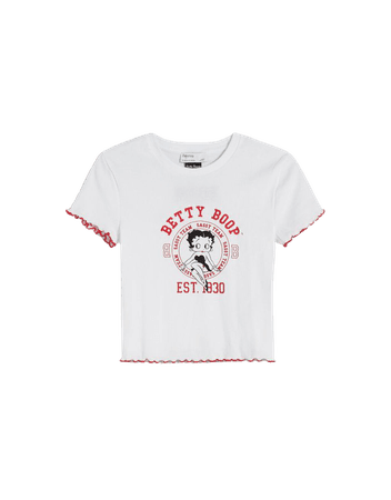Short sleeve Betty Boop ribbed T-shirt - Tees and tops - Woman   Bershka