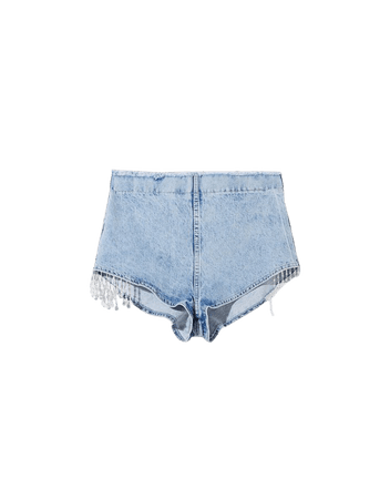 High-rise denim shorts with beading - New - Woman   Bershka