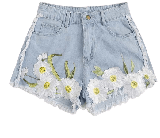Floral Embroidery Raw Hem Denim Shorts | SHEIN USA