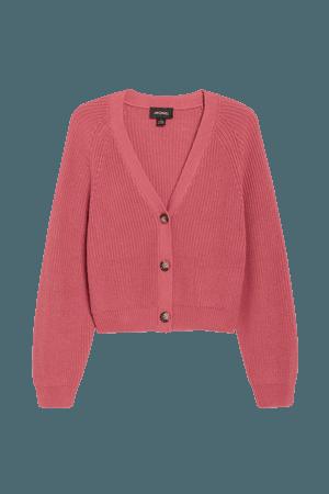 Ribbed cardigan - Dark pink - Cardigans - Monki WW