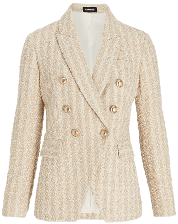 Metallic Tweed Double Breasted Novelty Button Blazer | Express