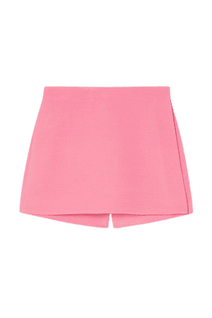 Wool And Silk-blend Crepe Shorts - Pink