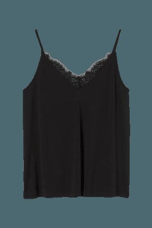 Lace-trimmed Camisole Top - Black - Ladies   H&M US