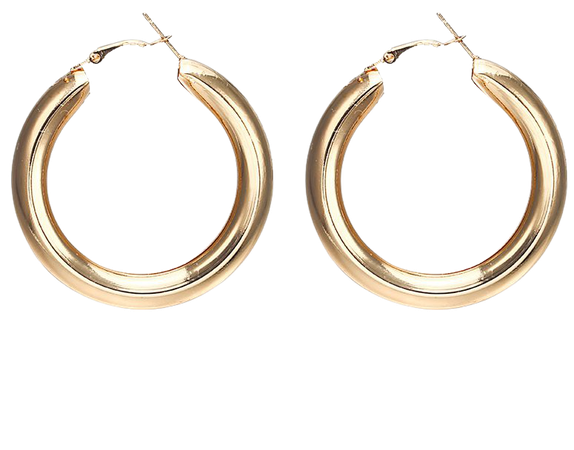 Gold Hoop Earring chunky thick