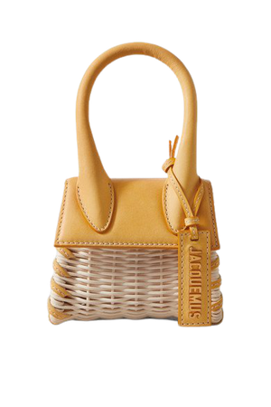 Le Chiquito Leather-trimmed Straw Tote - Yellow