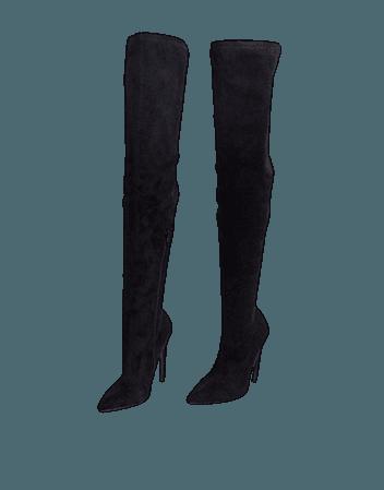 ASOS DESIGN Kendra stiletto thigh high boots in black | ASOS