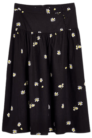 Linen-Blend Buttoned Yoke Midi Skirt in Lazy Daisies
