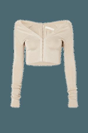 Cropped Stretch-knit Cardigan - Ecru