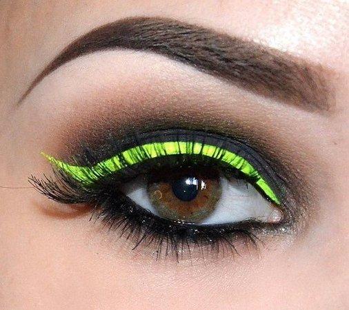 Neon Yellow-Green & Black Eye Makeup