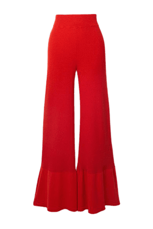 Fluted Ribbed Organic Cotton-blend Flared Pants