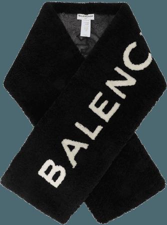 Balenciaga Shearling Logo Scarf - Farfetch