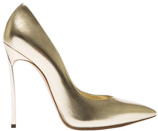 Casadei Gold Leather Blade Pumps