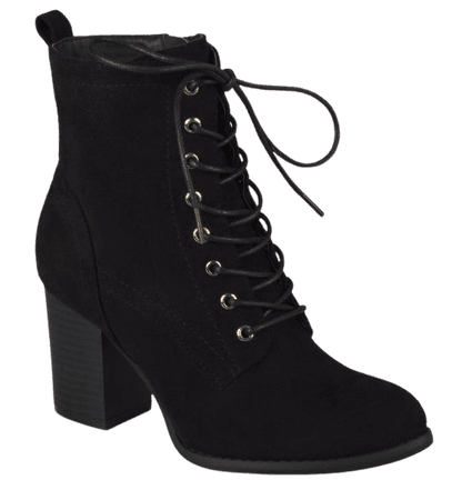 Brinley Co. - Brinley Co. Women's Lace-up Stacked Heel Faux Suede Booties - Walmart.com - Walmart.com