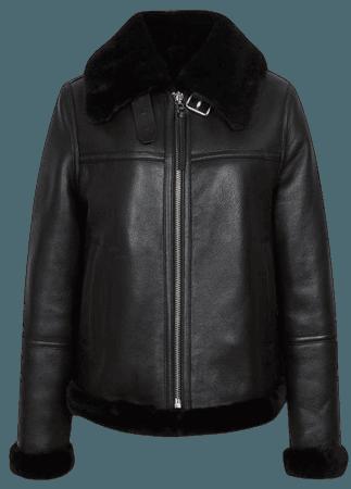 Macey Black Reversible Shearling Aviator Jacket – REISS