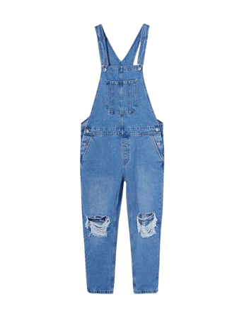 Ripped denim overalls - New - Woman | Bershka