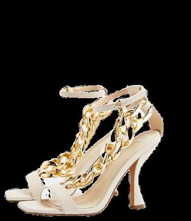 Topshop chain detail sandals in ecru   ASOS