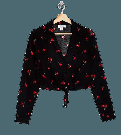Topshop tie front shirt in red cherry print   ASOS