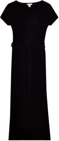 Topshop Square Neck Belted Ribbed Midi Dress