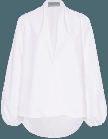 Cortona Collarless Cotton White Shirt