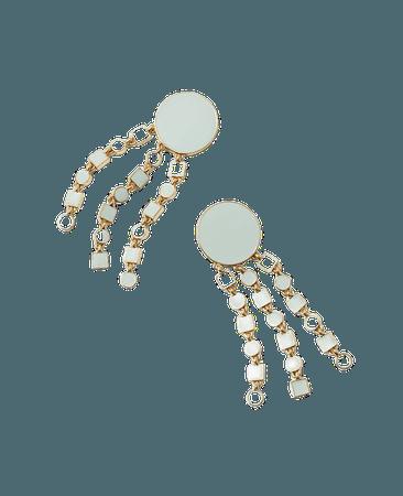Geo Fringe Statement Earrings   Ann Taylor