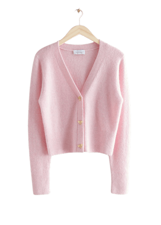 Bee Button Alpaca Blend Cardigan - Light Pink - Cardigans - & Other Stories