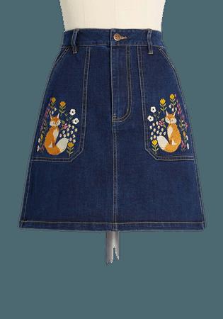 ModCloth x Princess Highway Embroidered Denim Mini Skirt Denim   ModCloth