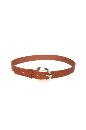 Cute Brown Belt - Faux Leather Belt - Round Buckle Belt - Lulus