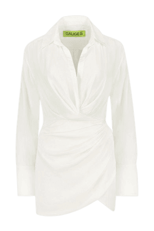 Naha Draped Silk Mini Shirt Dress - White