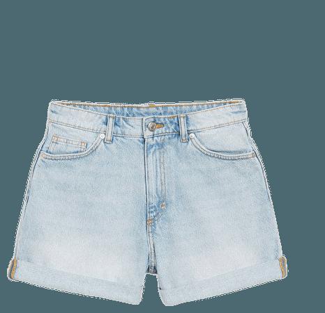 High waist denim shorts - Light blue - Shorts - Monki WW