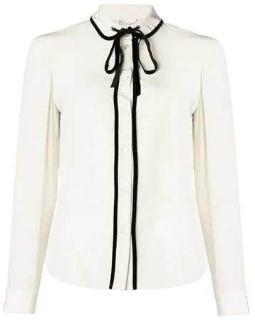 Red Valentino Contrast Long Sleeved Blouse