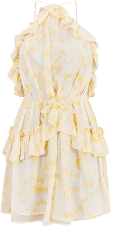 Pale Yellow Printed Frill Strappy Shift Dress   PrettyLittleThing USA