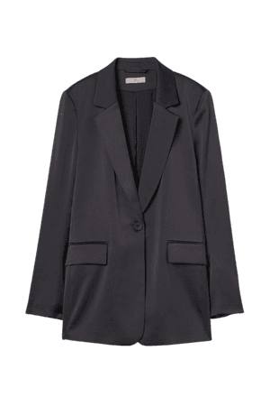 Straight-cut Jacket with Sheen - Black - Ladies | H&M US