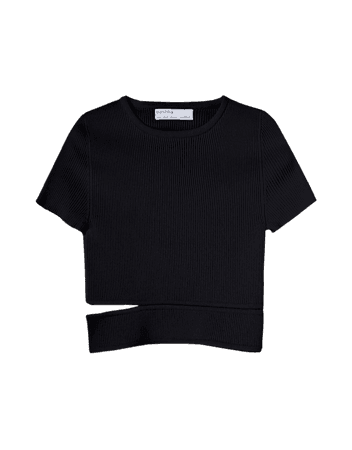 Short sleeve sweater with cut-out side - Tees and tops - Woman | Bershka