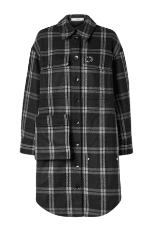 Chester Oversized Convertible Checked Wool-blend Coat - Black