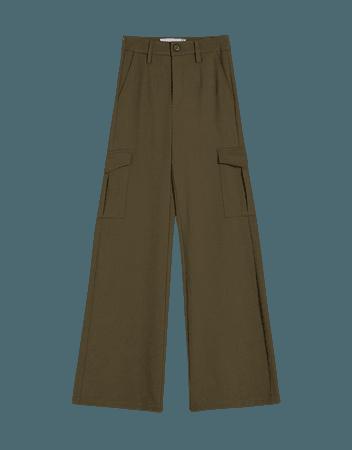 Wide-leg argo pants - Pants - Woman | Bershka