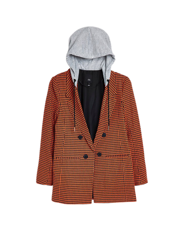 Red dogtooth tailored hooded blazer | River Island