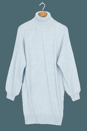 Light Blue Sweater Dress - Turtleneck Dress - Knit Dress - Lulus