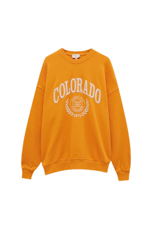 Orange oversize sweatshirt with embroidery - Ecologically grown cotton (at least 95%) - pull&bear