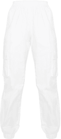 White Cargo Trousers   Trousers   PrettyLittleThing USA
